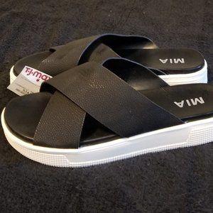 MIA Black Slip On Sandals Cushioned Soles NEW